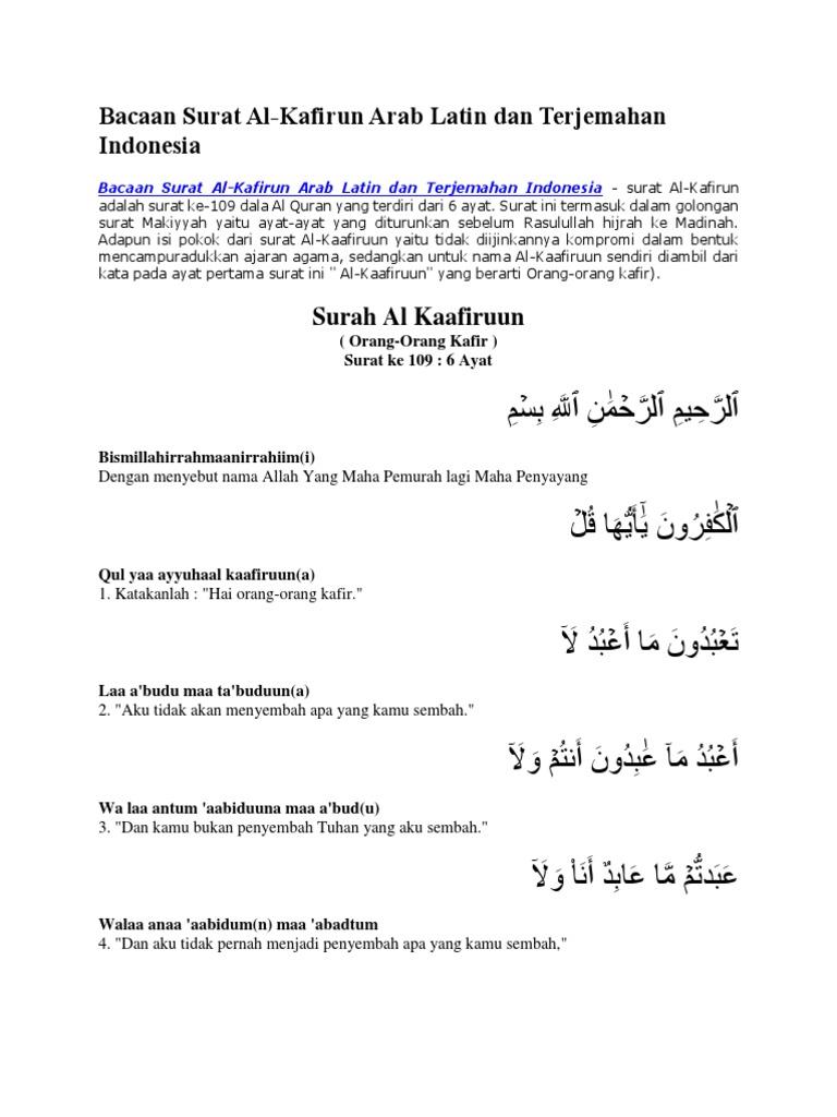 Surat Al Kafirun Latin Resepmenuhargacom