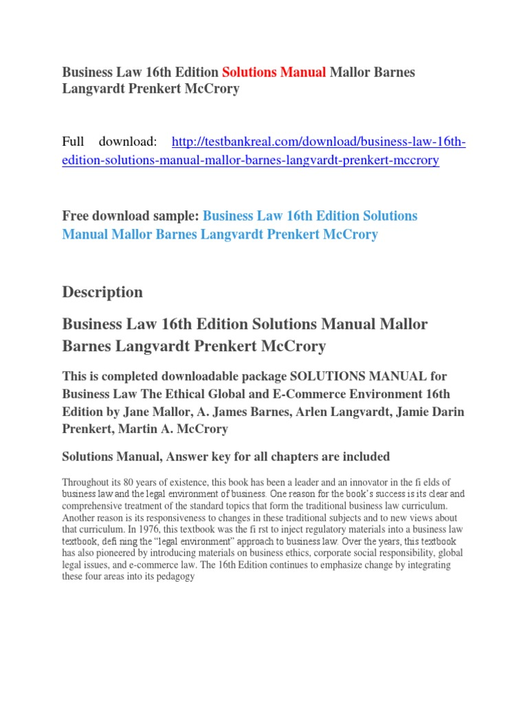 Business Law 16th Edition Solutions Manual Mallor Barnes Langvardt Prenkert  McCrory | Joint Comprehensive Plan Of Action | Iran