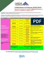 Calendrier Delf Dalf Tcf 2018-2019 09 2018