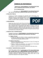 TERMINOS de REFERENCIA - Mantenimiento Infraestructura.