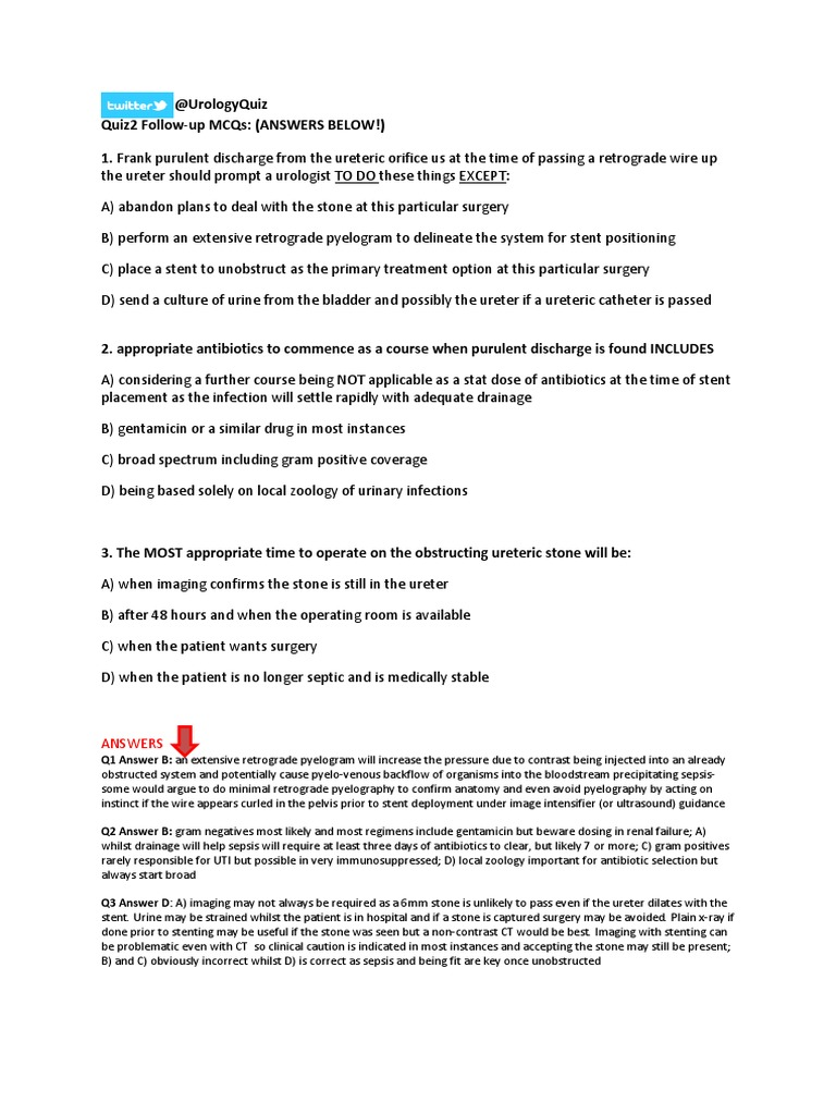 207859758-UrologyQuiz3-FollowupMCQ-and-Answers pdf | Urology