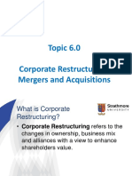 Topic 6.0 - Corporate Restructuring - M A