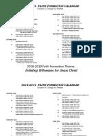 faith formation calendar 2018-2019