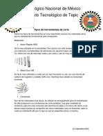 Tipos de Herramientas de Corte y Parametros