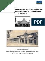 Inspeccion Veterinaria en Mataderos 5 Edición - Solicitud y Programa
