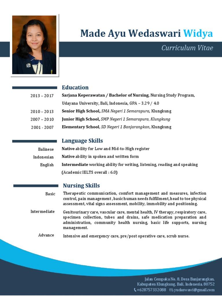 Contoh Curriculum Vitae Cv Bahasa Inggris Perawat