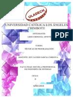 Inve Formativa TÉCNICAS de PROGRAMACIÓN Lidis Chinguel