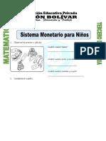 Ficha Sistema Monetario Para Niños Para Tercero de Primaria