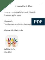La Educación Emocional en El Proceso Educativo Del Ámbito Escolar