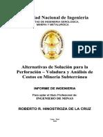 Alternativas de Solución Para La Perforación - Voladura y Análisis de Costos en Minería Subterránea