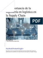 La Importancia de La Ingeniería en Logística en La Supply Chain