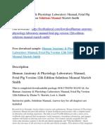 Human Anatomy & Physiology Laboratory Manual, Fetal Pig Version 12th Edition Solutions Manual Marieb Smith