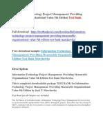 Information Technology Project Management Providing Measurable Organizational Value 5th Edition Test Bank Marchewka