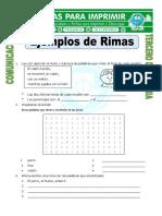 Ficha Ejemplos de Rimas Para Tercero de Primaria
