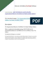 M Organizational Behavior 3rd Edition Test Bank McShane Glinow