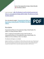 Organizational Behavior Emerging Knowledge Global Reality 7th Edition Test Bank McShane Glinow
