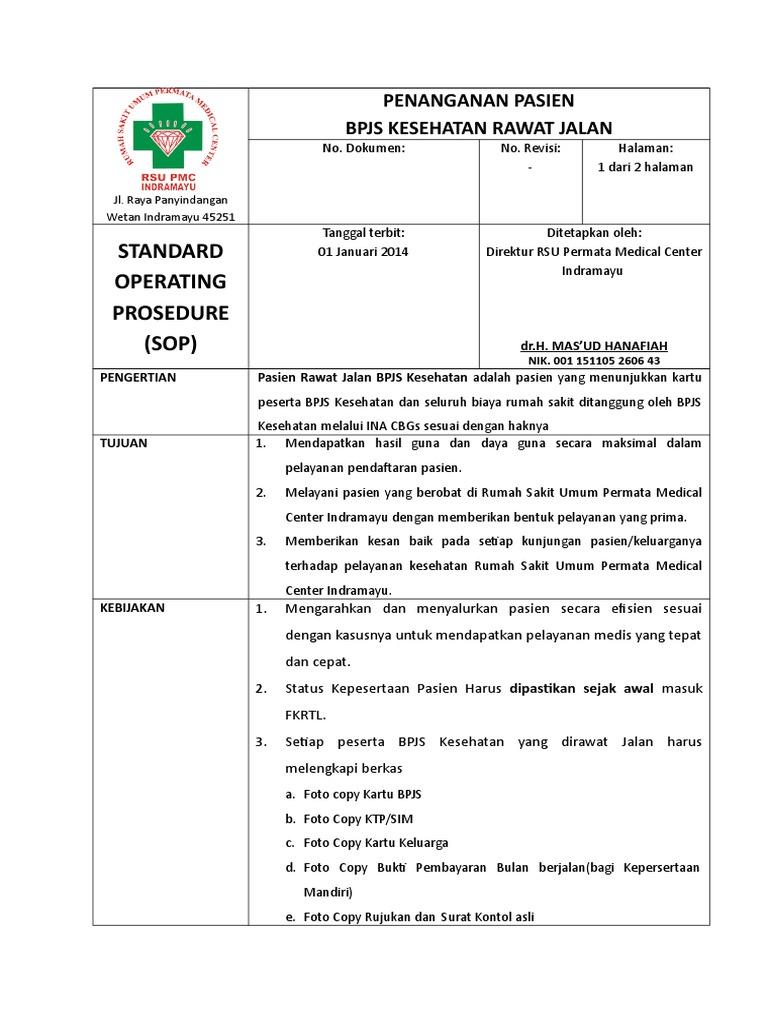 Sop Pendaftaran Pasien Baru Rawat Jalan Bpjs Kesehatan Rsu Pmc