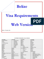 Visa Requirements for Belize December 2013