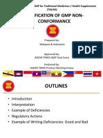 ASEAN TMHS GMP Training Classification of GMP Non Conformance