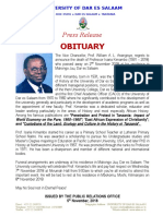 Tangazo La Kifo Cha Profesa Isaria Kimambo Na Ratiba Ya Kumuaga Udsm-1