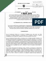 Decreto 410 del 1 de marzo de 2018