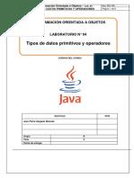 Lab 04 - Tipos de Datos Primitivos y Operadores