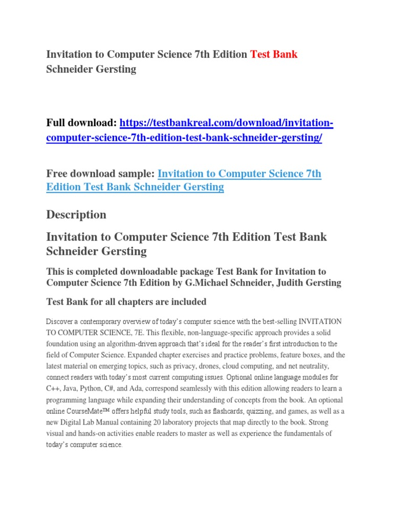 Invitation to Computer Science 7th Edition Test Bank