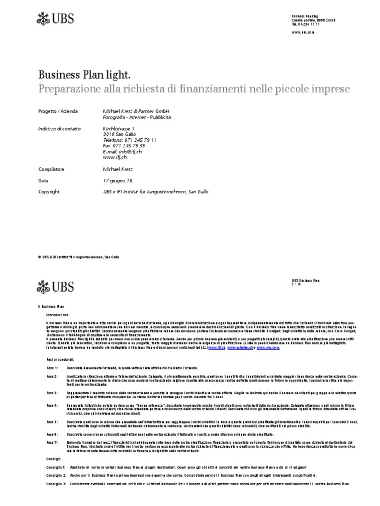 modello business plan ubs