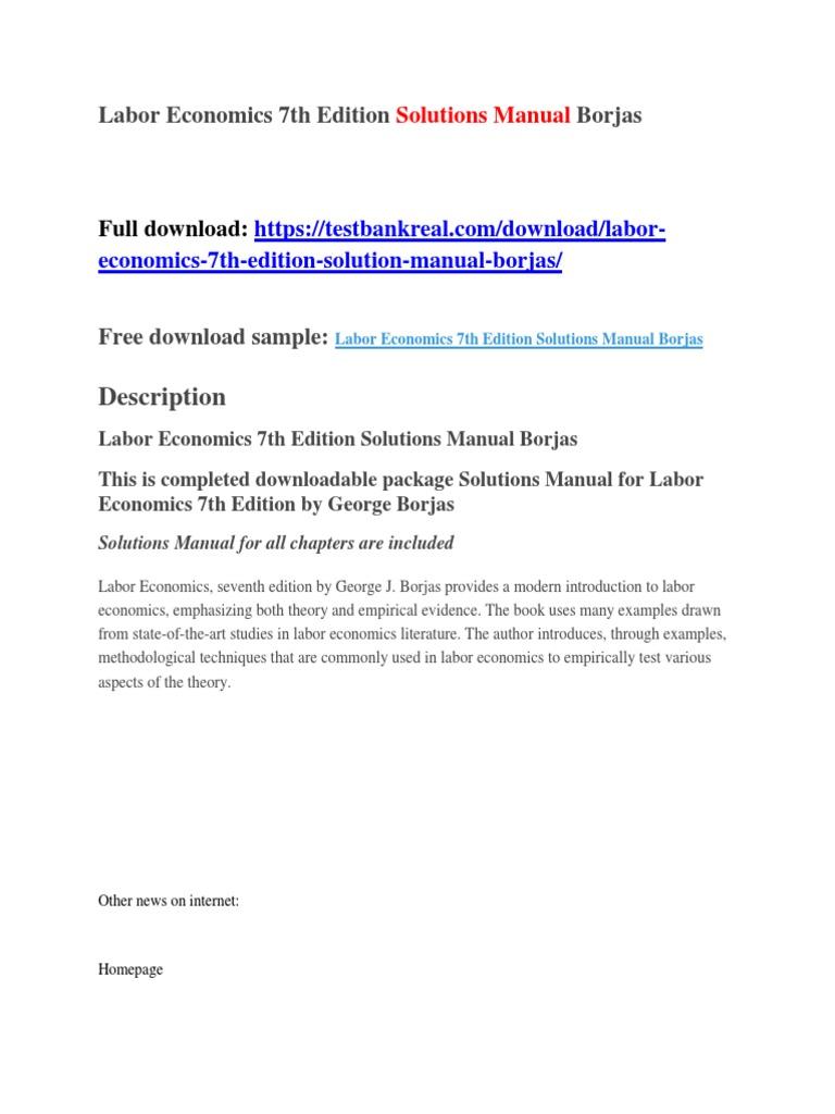 Labor Economics 7th Edition Solutions Manual Borjas | International  Politics | Islamic State Of Iraq And The Levant