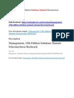 Management, 13th Edition Solutions Manual Schermerhorn Bachrach