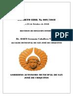 Decreto Edil Nº 009-2018 Recursos de Donación Interna