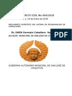 Decreto Edil 004-2018 Reglamento Especifico Del Sistema de Programacion de Operaciones