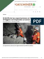 El 63,5% de Las Exportaciones en La Región de O'Higgins Corresponden Al Sector Minero