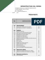 Metrado Presupuesto Reparacion de Pavimentos 25-10-2018