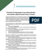 Presentarán en Diputados el proyecto de ley de inclusión laboral trans