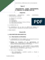 Tema 3. Descripción archivística. Inventarios, guias, catalogos