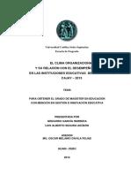 EL CLIMA ORGANIZACIONAL Y SU RELACIÓN CON EL DESEMPEÑO DOCENTE EN LAS INSTITUCIONES EDUCATIVAS DEL DISTRITO DE CAJAY 2013.pdf