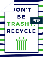 Dont Be Trashy Poster Navy and Green