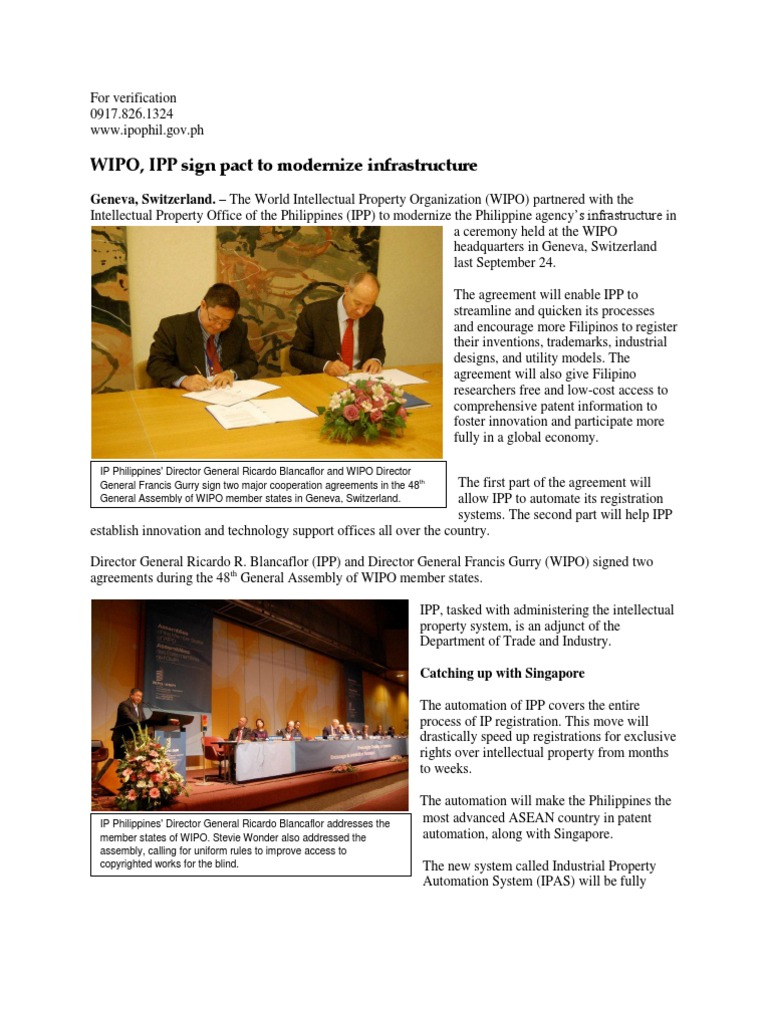 Ps wipo ipp sign pact to modernize infrastructure world ps wipo ipp sign pact to modernize infrastructure world intellectual property organization intellectual property platinumwayz