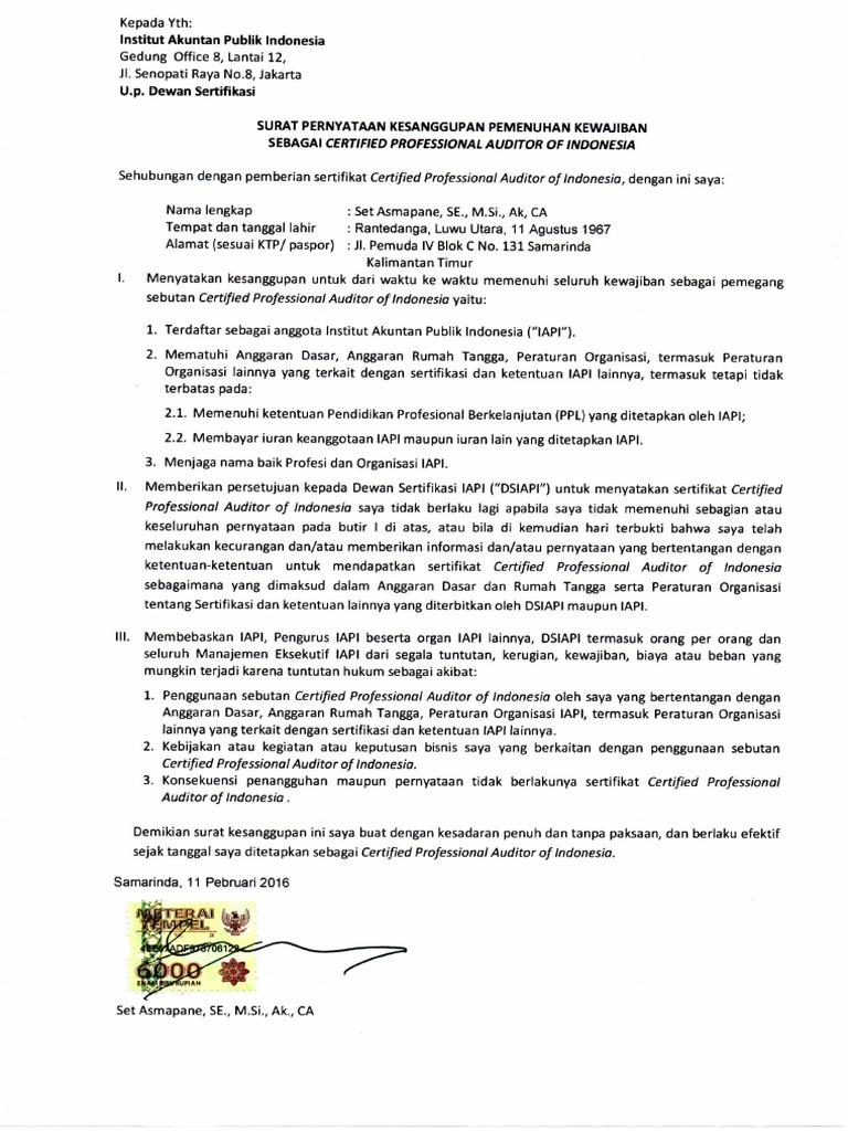 Surat Pernyataan Kesanggupan Pemenuhan Kewajiban