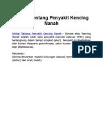 Artikel Tentang Penyakit Kencing Nanah