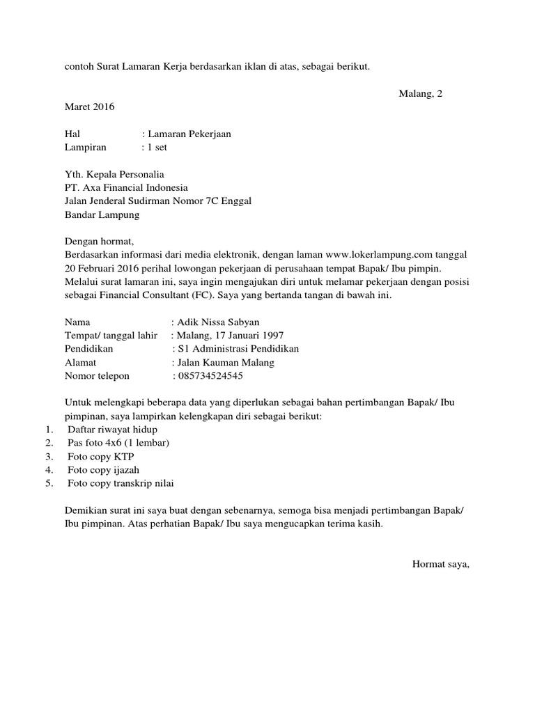 Contoh Surat Lamaran Kerja Berdasarkan Iklan Di Atas