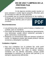 Instrucciones de Uso y Limpieza de La Prótesis Fija