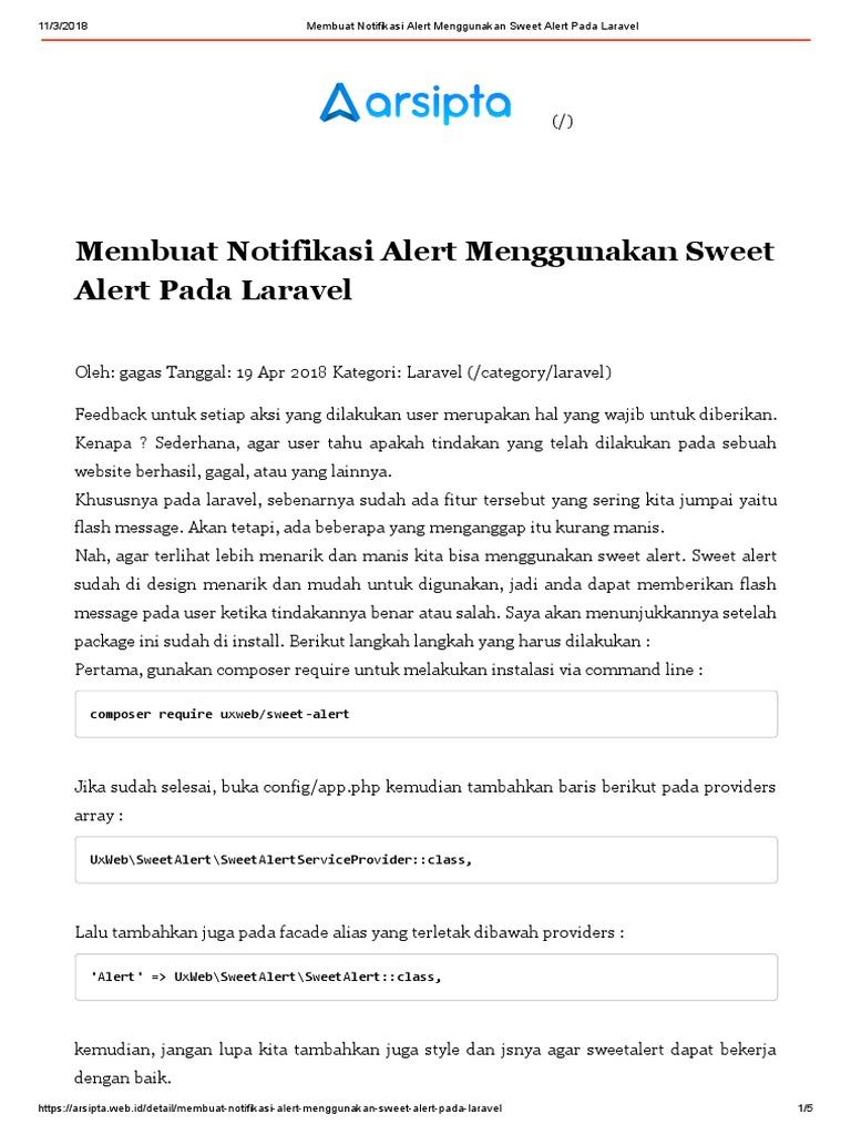 Sweet Alert Pada Laravel