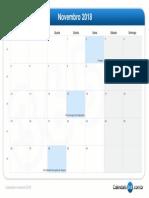 Calendário novembro 2018