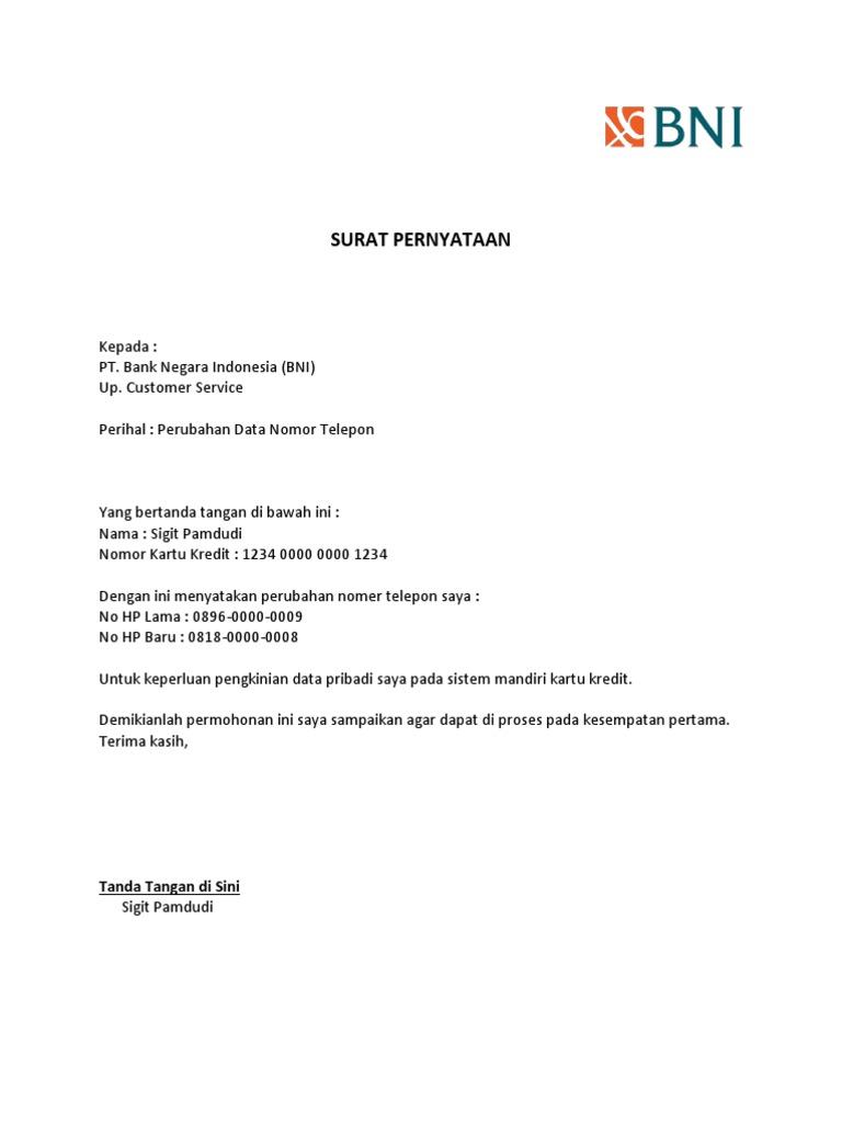 surat pernyataan pergantian no telepon kartu kredit bni rh id scribd com