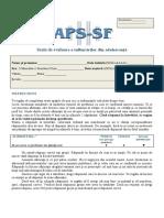 APS-SF Scala de Evaluare a Tulburarilor Din Adolescenta, Forma Scurta