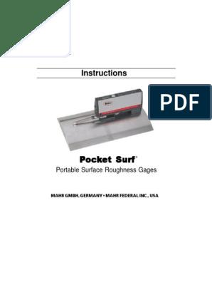 Pocket Surf Instruction Manual Calibration Surface Roughness