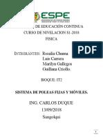 Sistema de Poleas Fijas y Moviles.