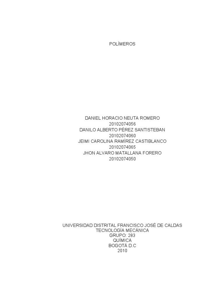 Trabajo escrito polimeros